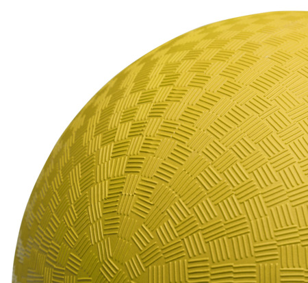Close up Section of Yellow Dodge Ball Isolated on White Background. photo
