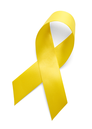 objects with clipping paths: Yellow Support the Troops Ribbon Isolated on White Background. Stock Photo