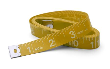 Sewing tape measure wound up in inches Isolated on White Background. photo