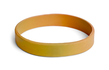 Blank rubber plastic stretch Yellow  bracelet isolated on white background.