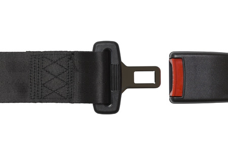 black belt: New Black Open Seat Belt Isolated on White Background.