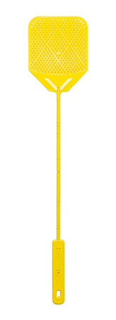 domestic life: New Yellow Plastic Fly Swatter Isolated on White Background.