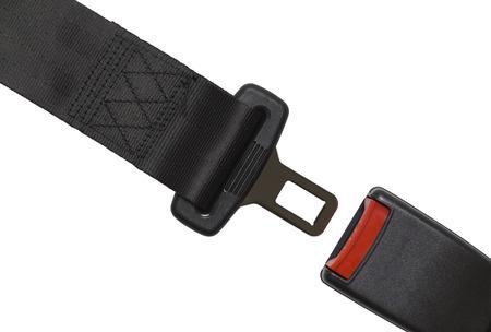 cinturón de seguridad: Nuevo cinturón de seguridad Negro abierto aisladas sobre fondo blanco. Foto de archivo