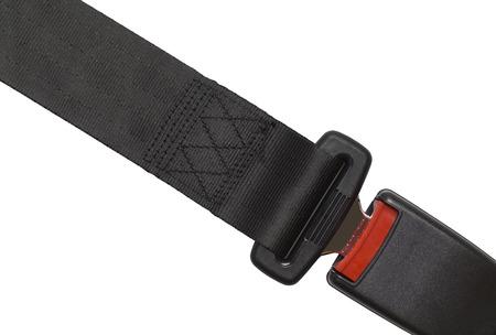 New Black Seat Belt Buckeled Up Isolated on White.