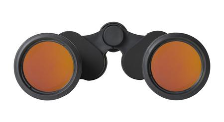 glare: Pair of Black Binoculars with Orange Anti Glare Lens Isolated on White Background. Stock Photo