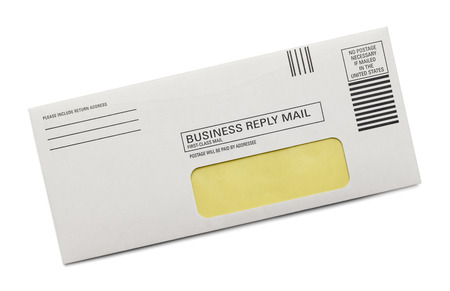 Pre Paid Business Reply Envelope Isolated on White Background.