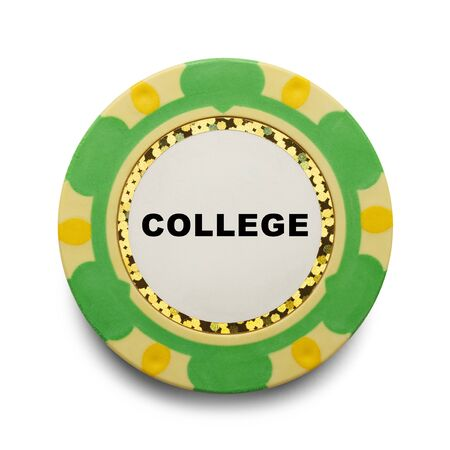 gamble: College Casino Chip Gamble Isolated on White Background.