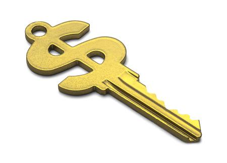 Gold Cash Symbol House Key Isolated on White Background.