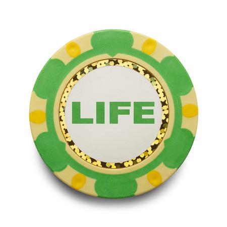 poker chip: Risking Life Gambling Poker Chip Isolated on White Background.