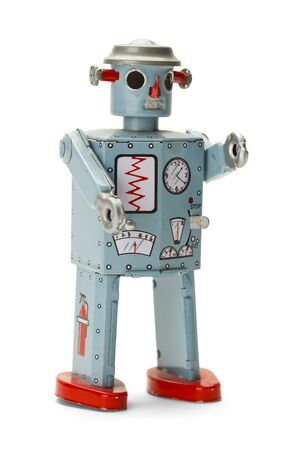 wind up: Retro Wind Up Space Robot Isolated on White Background. Stock Photo