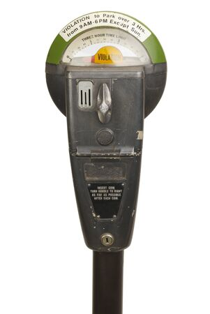 Old Violation Parking Meter Isolated on White Background.
