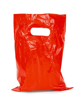 environmental damage: Small Shopping Bag with Handels Isolated on White Background.