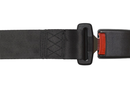 clicked: New Black Seat Belt Buckeled Up Isolated on White.