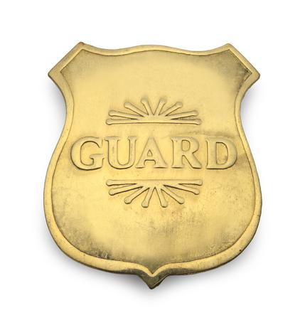 policier: Old Badge Garde isolé sur fond blanc. Banque d'images