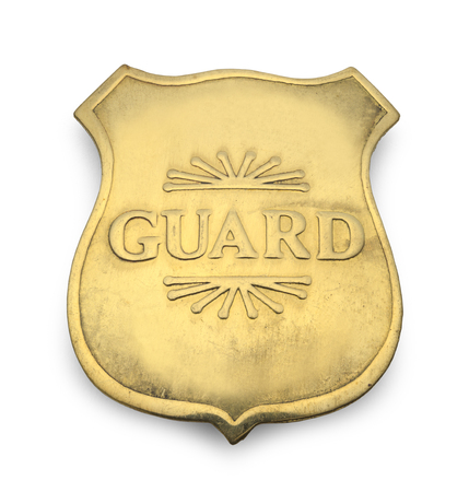police officer: Old Guard Badge Isolated on White Background.