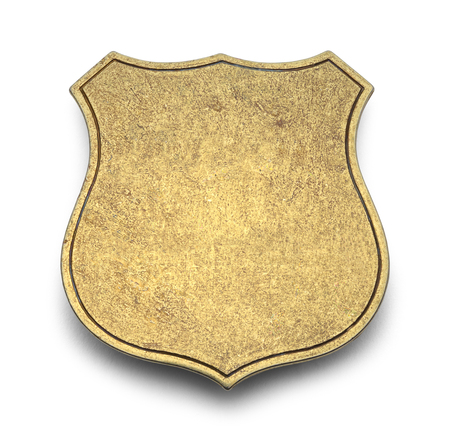 Gold Shield Badge with Copy Space Isolated on White Background.