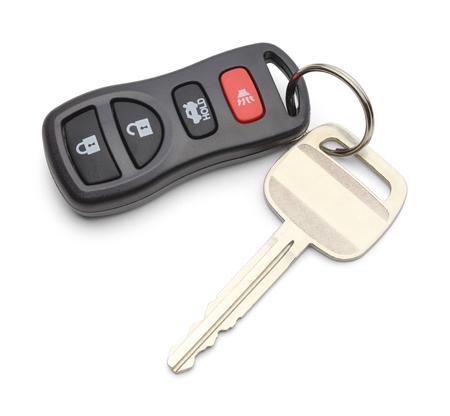 Single Car Key with Keyless Remote Isolated on White Background.