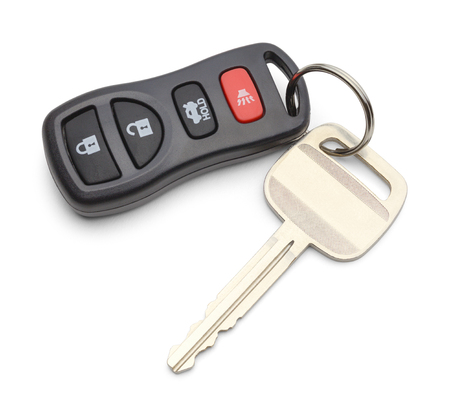 the keys: Single Car Key with Keyless Remote Isolated on White Background.