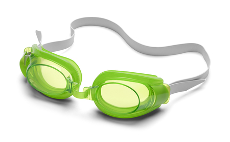 isolated on green: Pair of Swimming Goggles Isolated on White Background.