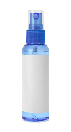 spray bottle: Small Blue Spray Bottle with Copy Space Isolated on White Background.