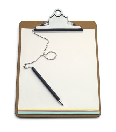 clipboard: Clipboard with Carbon Copy Form and Pen Isolated on White Background. Stock Photo