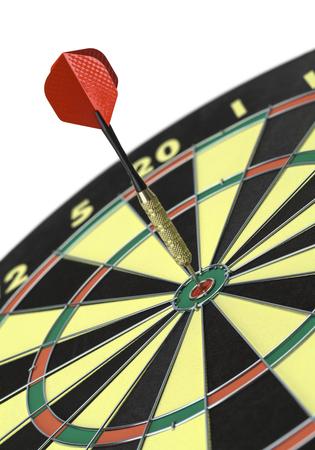 white achievement: Single Dart in Bulls Eye  on White Background.
