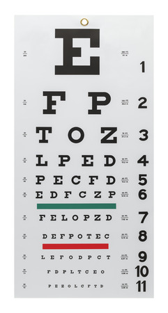 Eye Exam Chart Isolated on a White Background.