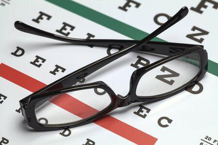 eye exam: Pair of Folded Glasses on Eye Exam Chart.