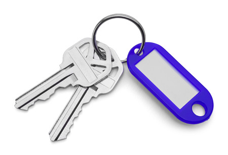 key chain: Blue Key Chain Tag and Keys Isolated on White Background.