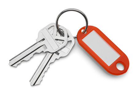 key chain: Red Key Chain Tag and Keys Isolated on White Background.