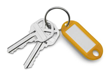 key in chain: Yellow Key Chain Tag and Keys Isolated on White Background.