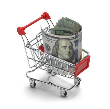cash money: Retail Basket with Cash Money Isolated on White Background.