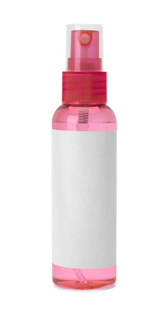 spray bottle: Small Red Spray Bottle with Copy Space Isolated on White Background. Stock Photo