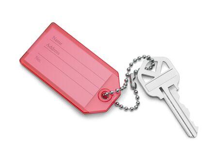 House Key With Address Tag Isolated on White Background. Imagens