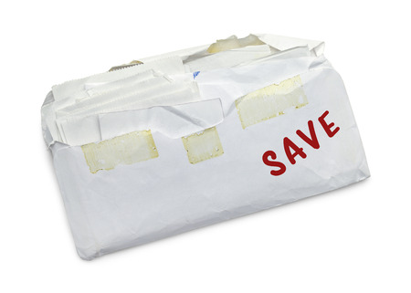 Envelope full of Receipts  to Save Isolated on White Background.