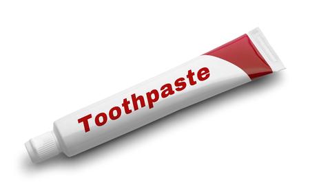 Rode tube tandpasta geïsoleerd op witte achtergrond. Stockfoto