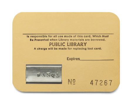 Old Paper Library Card with Copy Space Isolated on White Background.