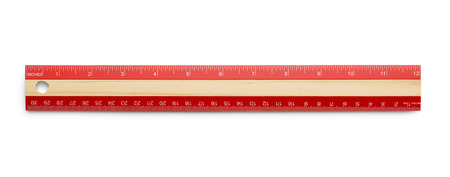 Red Wooden Ruler Isolated on White Background.
