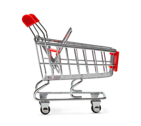 shopping cart isolated: Red and Silver Shopping Cart Isolated on White Background.