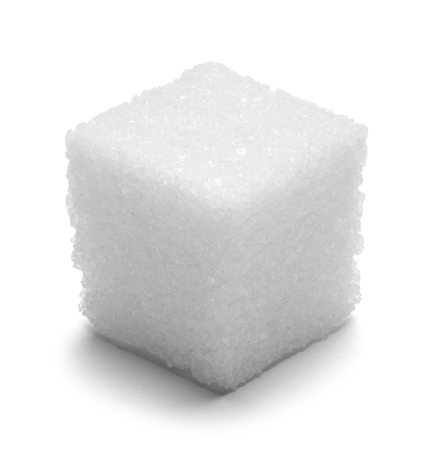 single: Single Cube of Sugar Isolated on White Background. Stock Photo