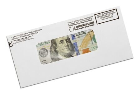 Department of the Treasury Envelope with Money Inside Isolated on White Background. Archivio Fotografico