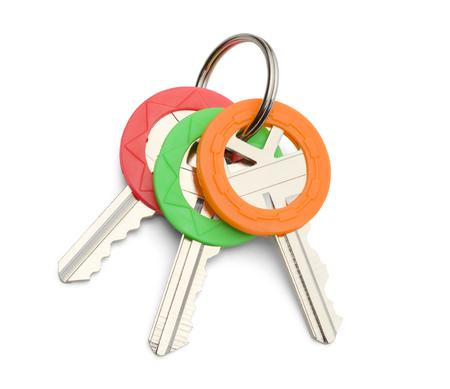 keys isolated: Three House Keys On Key Ring Isolated on White Background.