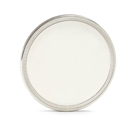 silver bullion: Silver Bullion Coin with Copy Space Isolated on a White Background. Stock Photo