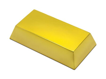 gold bar: Single Gold Bar Isolated on a White Background.