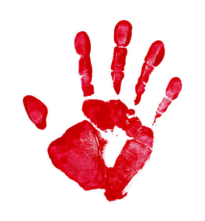 15 18: Red Paint Hand Print Isolated on a White Background.