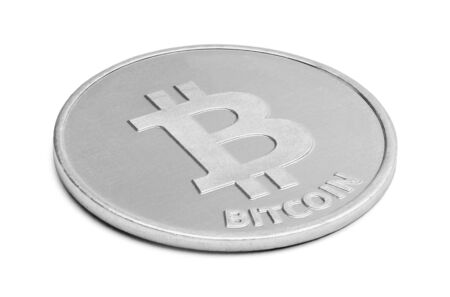 money online: Silver Bitcoin Digital Currency Isolated on a White Background. Stock Photo