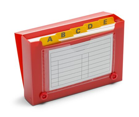 Red Index Card Holder Isolated on White Background.