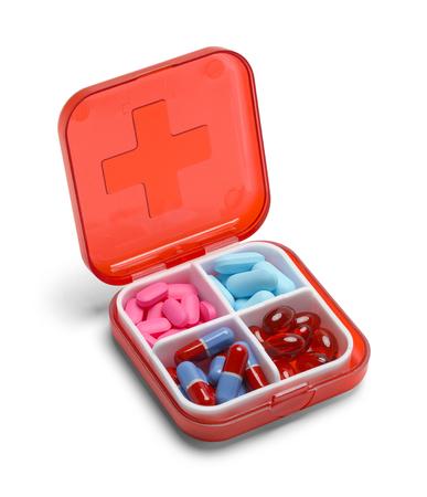 Petite médecine Pill Box isolé sur fond blanc. Banque d'images - 51202594