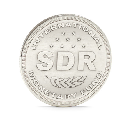 monetary: International Monetary Fund Special Drawing Rights Coin Isolated on White Background. Stock Photo