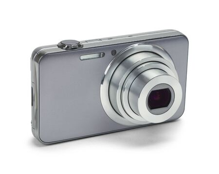 filming point of view: Point and Shoot Silver Camera Isolated on a White Background. Stock Photo
